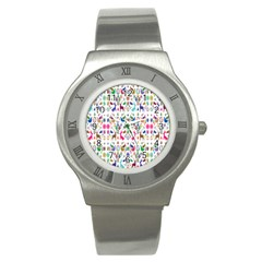 Birds Fish Flowers Floral Star Blue White Sexy Animals Beauty Rainbow Pink Purple Blue Green Orange Stainless Steel Watch