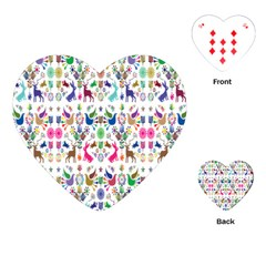 Birds Fish Flowers Floral Star Blue White Sexy Animals Beauty Rainbow Pink Purple Blue Green Orange Playing Cards (heart)
