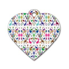 Birds Fish Flowers Floral Star Blue White Sexy Animals Beauty Rainbow Pink Purple Blue Green Orange Dog Tag Heart (two Sides)