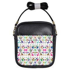 Birds Fish Flowers Floral Star Blue White Sexy Animals Beauty Rainbow Pink Purple Blue Green Orange Girls Sling Bags
