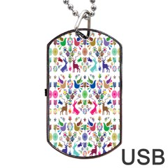 Birds Fish Flowers Floral Star Blue White Sexy Animals Beauty Rainbow Pink Purple Blue Green Orange Dog Tag Usb Flash (one Side)
