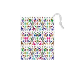 Birds Fish Flowers Floral Star Blue White Sexy Animals Beauty Rainbow Pink Purple Blue Green Orange Drawstring Pouches (small)
