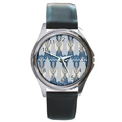 Flower Floral Leaf Beauty Art Round Metal Watch