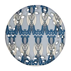 Flower Floral Leaf Beauty Art Round Filigree Ornament (two Sides)