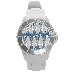Flower Floral Leaf Beauty Art Round Plastic Sport Watch (l)