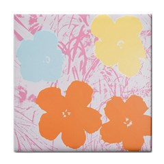 Flower Sunflower Floral Pink Orange Beauty Blue Yellow Tile Coasters