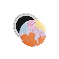 Flower Sunflower Floral Pink Orange Beauty Blue Yellow 1 75  Magnets