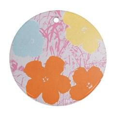 Flower Sunflower Floral Pink Orange Beauty Blue Yellow Ornament (round)