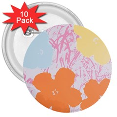 Flower Sunflower Floral Pink Orange Beauty Blue Yellow 3  Buttons (10 Pack)