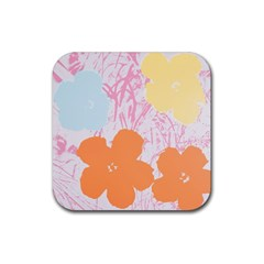 Flower Sunflower Floral Pink Orange Beauty Blue Yellow Rubber Square Coaster (4 Pack)