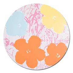 Flower Sunflower Floral Pink Orange Beauty Blue Yellow Magnet 5  (round)