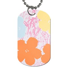 Flower Sunflower Floral Pink Orange Beauty Blue Yellow Dog Tag (one Side)