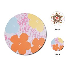 Flower Sunflower Floral Pink Orange Beauty Blue Yellow Playing Cards (round)
