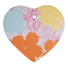 Flower Sunflower Floral Pink Orange Beauty Blue Yellow Heart Ornament (two Sides)