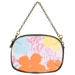 Flower Sunflower Floral Pink Orange Beauty Blue Yellow Chain Purses (one Side)