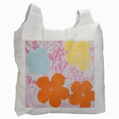 Flower Sunflower Floral Pink Orange Beauty Blue Yellow Recycle Bag (two Side)