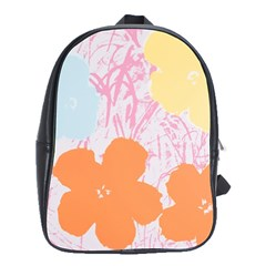 Flower Sunflower Floral Pink Orange Beauty Blue Yellow School Bag (large)