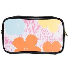 Flower Sunflower Floral Pink Orange Beauty Blue Yellow Toiletries Bags