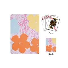 Flower Sunflower Floral Pink Orange Beauty Blue Yellow Playing Cards (mini)