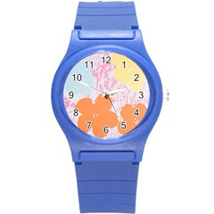 Flower Sunflower Floral Pink Orange Beauty Blue Yellow Round Plastic Sport Watch (s)