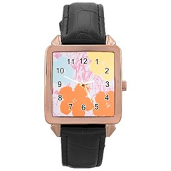Flower Sunflower Floral Pink Orange Beauty Blue Yellow Rose Gold Leather Watch