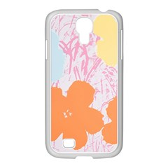 Flower Sunflower Floral Pink Orange Beauty Blue Yellow Samsung Galaxy S4 I9500/ I9505 Case (white)