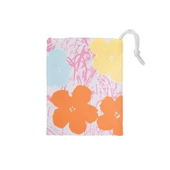 Flower Sunflower Floral Pink Orange Beauty Blue Yellow Drawstring Pouches (small)