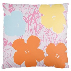 Flower Sunflower Floral Pink Orange Beauty Blue Yellow Large Flano Cushion Case (one Side)