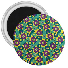 Discrete State Turing Pattern Polka Dots Green Purple Yellow Rainbow Sexy Beauty 3  Magnets