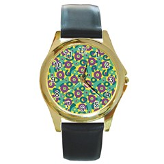 Discrete State Turing Pattern Polka Dots Green Purple Yellow Rainbow Sexy Beauty Round Gold Metal Watch