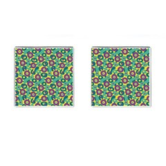 Discrete State Turing Pattern Polka Dots Green Purple Yellow Rainbow Sexy Beauty Cufflinks (square)
