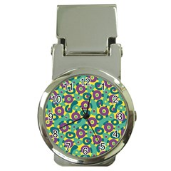 Discrete State Turing Pattern Polka Dots Green Purple Yellow Rainbow Sexy Beauty Money Clip Watches