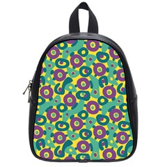 Discrete State Turing Pattern Polka Dots Green Purple Yellow Rainbow Sexy Beauty School Bag (small)