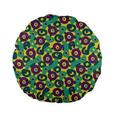 Discrete State Turing Pattern Polka Dots Green Purple Yellow Rainbow Sexy Beauty Standard 15  Premium Flano Round Cushions