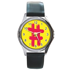 Fun Ain t Gone Fence Sign Red Yellow Flag Round Metal Watch