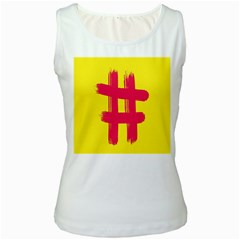 Fun Ain t Gone Fence Sign Red Yellow Flag Women s White Tank Top