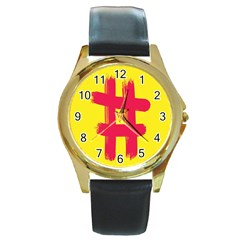 Fun Ain t Gone Fence Sign Red Yellow Flag Round Gold Metal Watch