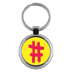 Fun Ain t Gone Fence Sign Red Yellow Flag Key Chains (round)
