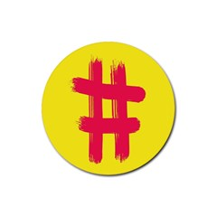 Fun Ain t Gone Fence Sign Red Yellow Flag Rubber Coaster (round)