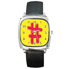 Fun Ain t Gone Fence Sign Red Yellow Flag Square Metal Watch