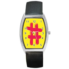 Fun Ain t Gone Fence Sign Red Yellow Flag Barrel Style Metal Watch