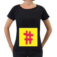 Fun Ain t Gone Fence Sign Red Yellow Flag Women s Loose Fit T Shirt (black)