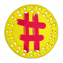 Fun Ain t Gone Fence Sign Red Yellow Flag Ornament (round Filigree)