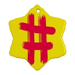 Fun Ain t Gone Fence Sign Red Yellow Flag Snowflake Ornament (two Sides)