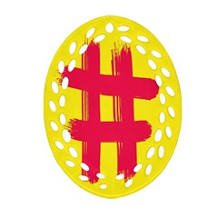 Fun Ain t Gone Fence Sign Red Yellow Flag Ornament (oval Filigree)