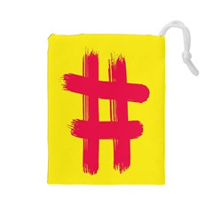 Fun Ain t Gone Fence Sign Red Yellow Flag Drawstring Pouches (large)