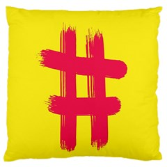 Fun Ain t Gone Fence Sign Red Yellow Flag Large Flano Cushion Case (two Sides)