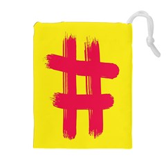 Fun Ain t Gone Fence Sign Red Yellow Flag Drawstring Pouches (extra Large)