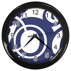 Garamond Blue White Wave Chevron Wall Clocks (black)