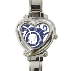 Garamond Blue White Wave Chevron Heart Italian Charm Watch